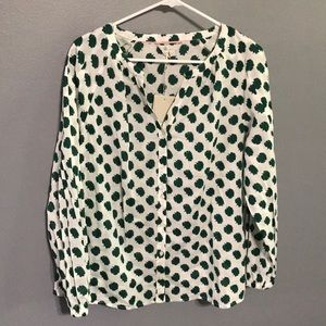 Boden Esme Green Carnation Long Sleeve Blouse NWT